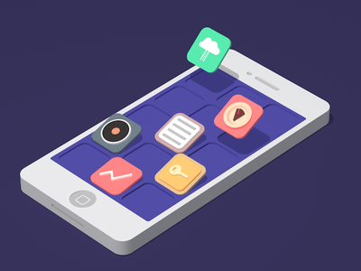 Mobile Custom App vector 3d illustration web landing flat iphone icons icon app mobile