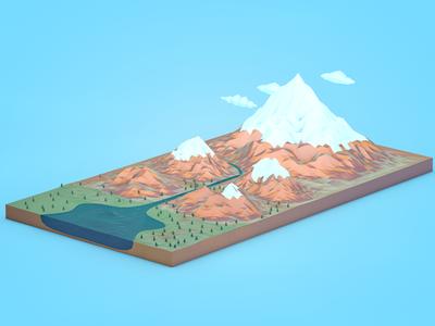 Terrain infographic blue mountains landscape web landing water lowpoly illustration 3d terrain infographic
