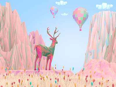 Nature Dreamy 2 lowpoly iconic grass flowers nature reindeer art 3d illustration