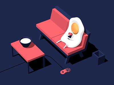 Relaxed 3d food app web cel shading flat illustration