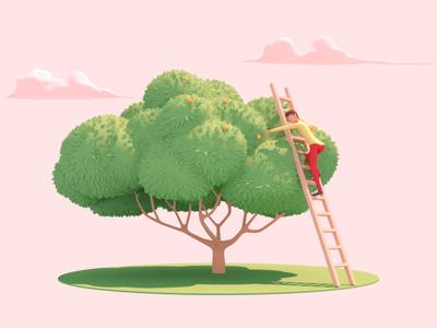 Orange Harvest tree nature infographic food trees landing landscape 3d illustration