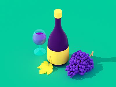 Fresh Wine flatillustration webillustration isometric wine food illustration 3d
