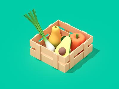 Fresh Fruits icon design avocado fruits isometric illustration isometric art flat illustration food illustration 3d