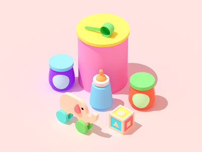 baby Food? colors baby food food illustration isometric isometric illustration 3d illustration flat illustration web illustration 3d