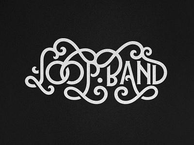 Flourish logo for mystery maze game - loop.band simple art white black type lettering vector design brand branding logo illustration