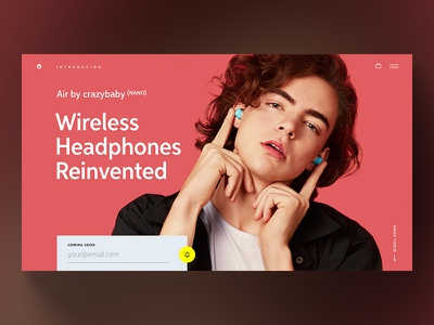 Air by crazybaby ⁽ᴺᴬᴺᴼ⁾ landing page brand branding type typography music headphones website minimal simple red landing page landing