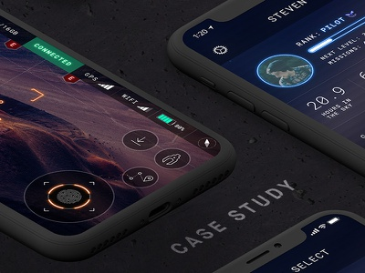 """""""KUDOLO"""" case study: Sci-Fi style UI for mobile Drone controller mobile smartphone case study android ios illustration ux sci-fi quadrocopter controller ui drone"""