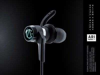 Glowing wireless headphones ARI Model1 simple minimal clean black cyber-punk glow led product japan wireless earphones headphones blender render 3d
