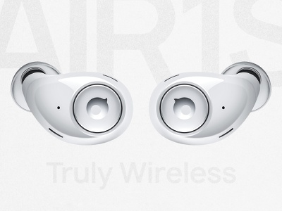 AIR1S: Truly Wireless Headphones. Product Visualisation. render 3d logo reflection button brand branding gray simple minimal clean white glow led wireless earphones headphones headphone product