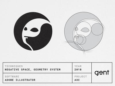 Alien logo negative space face hairline line art illustration geometric identity logotype symbol brand branding geometry negative space monogram alien logo