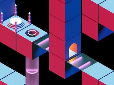 LOOP / THE BOARD GAME geometry dark black blender3d board game game isometry isometric render 3d