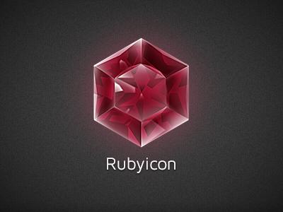 Rubyicon logo ruby logo icon diamond dark red gem jewel brand branding geometric