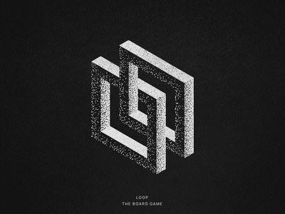 "Logo for ""loop the board game"" geometry impossible isometric isometria dark minimal black work black dot work clean branding simple illustration 3d logo"