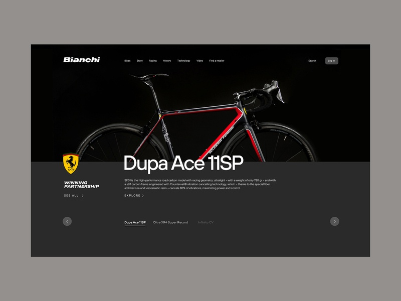 Bianchi — main page ferrari sport bicycle ui web design concept