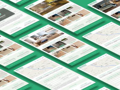 Website Mockup – Home and Contacts pages branding flat flat design green mockup perspective mockup ui user interface web design web page website white