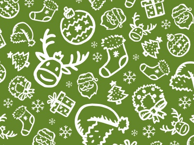 Merry Christmas to you all! balls christmas green icons newsletter pattern reindeer santa texture tree white xmas