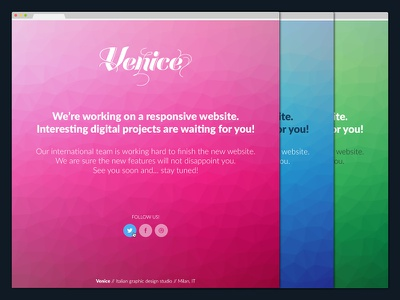 Venice   Coming Soon - PSD coming soon landing page layout minimal one page poly poly background psd responsive single page social template