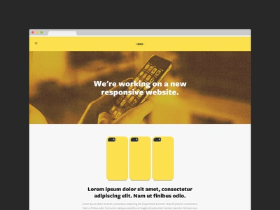 Landing Page (in construction) yellow website web design squarespace responsive mobile landing page iphone flat cover construction coming soon