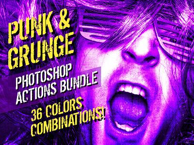 Punk & Grunge   Photoshop Actions tritone punk photoshop actions photoshop action photoshop halftone grunge filter duotone atn actions action