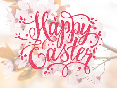 Happy Easter to you all! vintage typography quote photo overlays lettering happy easter handwriting handlettering easter cherry blossom cherry