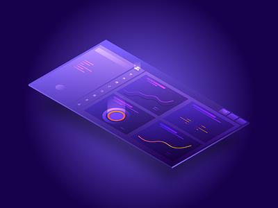 Freebie - Dashboard isometric illustration ui isometric illustration dashboad