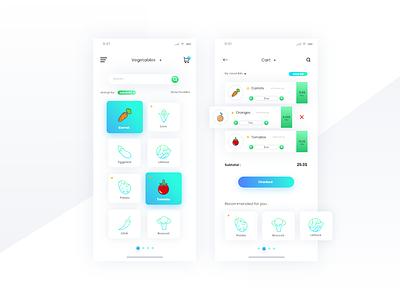 Freebie - Modern Groceries App clean app groceries modern freebie