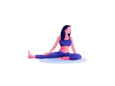 Yoga illustration 3° yoga girl illustration