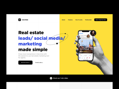 Brand new landing page — Real estate marketing tool for agents product design b2b saas grid system grid webdesign website modules layout branding design ux ui typography landing page product page brand design identity