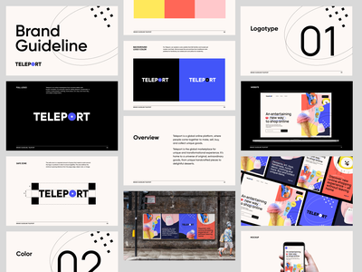 Teleport – Online Marketplace for Travellers   Brand Guidelines design guidelines figma typography mark brand posters ad collage e-shop ecommerce branding ui identity graphic design webdesign branding concept logotype marketplace