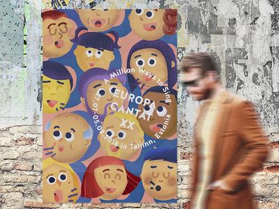 Europa Cantat singing illustration festival face choir character