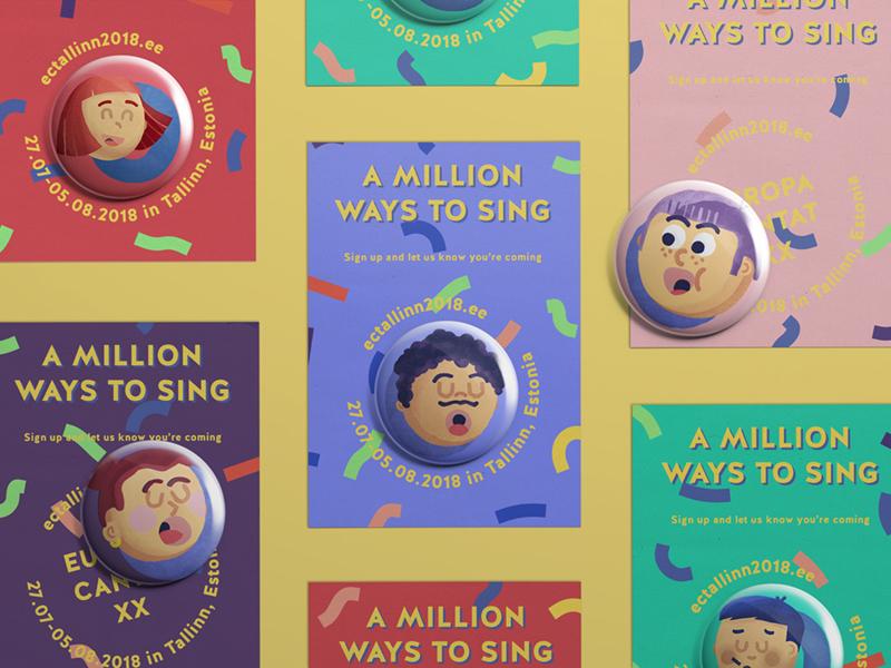 Europa Cantat pin invitation merch singing illustration festival face choir character