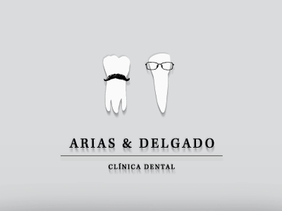Arias & Delgado brand logo tooth moustache glasses dental clinic