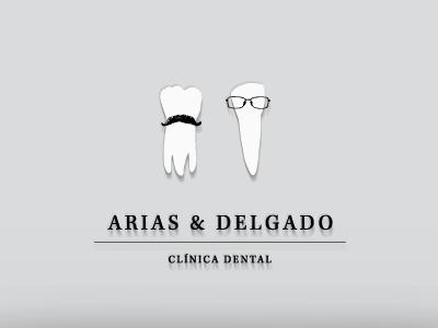 Arias & Delgado brand logo tooth moustache glasses dental clinic