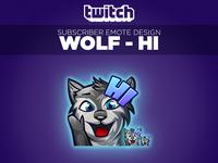 """Twitch Sub Emote Wolf """"Hi"""""""