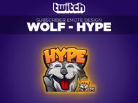 """Twitch Sub Emote Wolf """"Hype"""""""