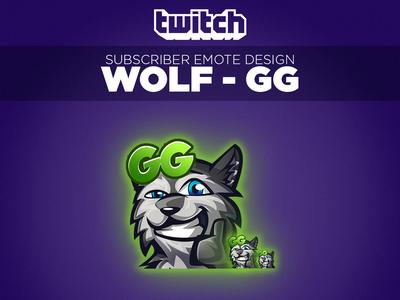 """Twitch Sub Emote Wolf """"GG"""""""