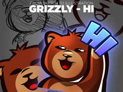 Illustration Progress Grizzly Bear