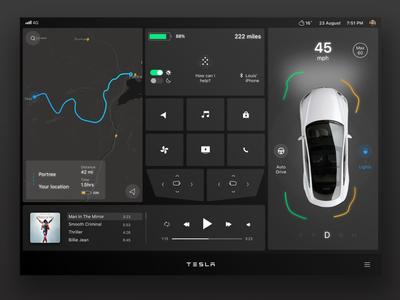 Tesla Interface Concept uidesigner sketch framer uxdesign prototyping ignite uidesign ux ui