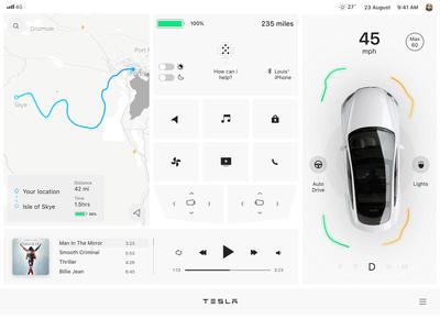 Tesla Interface  — day mode