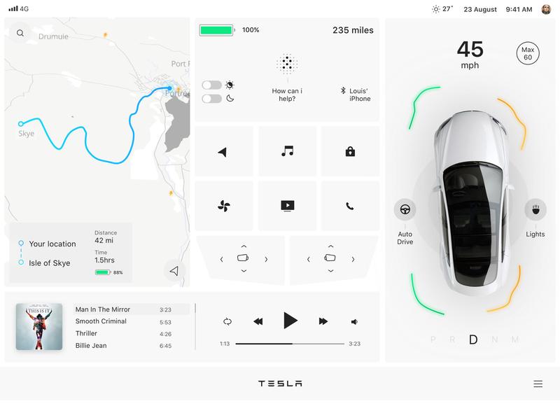 Tesla Interface  — day mode madewithframer framer minimal red ui ux design screen car interface ui tesla