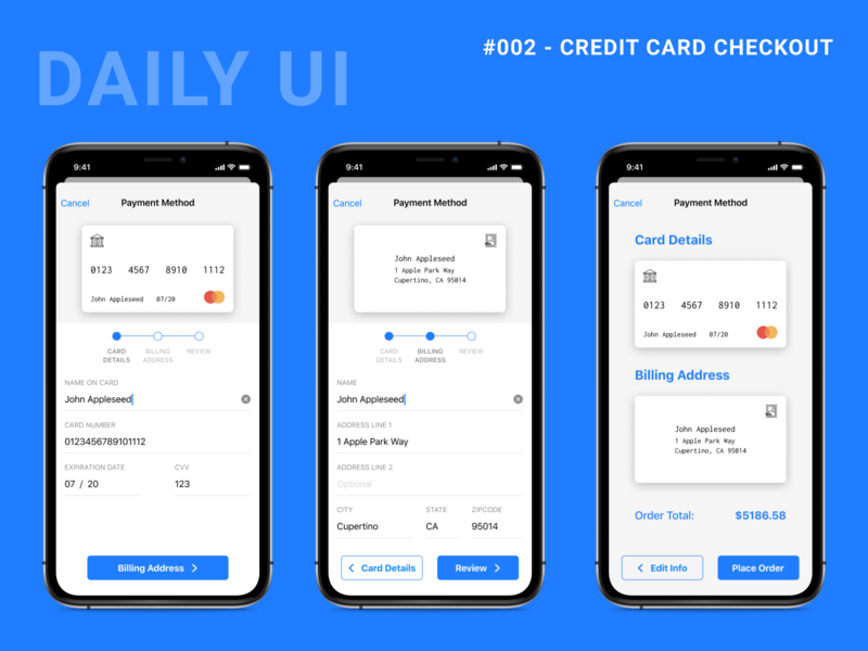 Daily UI Challenge 002 - Credit Card Checkout payment form mobile ios checkout credit card checkout figma dailyui 002 dailyui