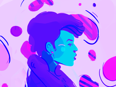 Janelle Monae bloop swirls illustration janelle monae