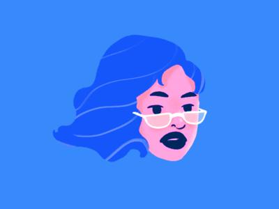 blue character design illustration portrait glasses girl hair