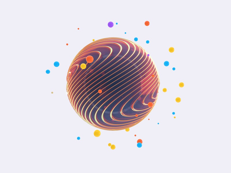 cinema 4d render round shot colorful digital object web ui elements abstract render c4d cinema 4d