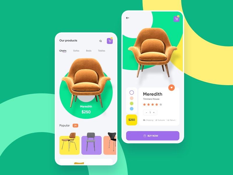 Furniture e commerce ios mobile app green store furniture store furniture app shopping shop product android ios ecommerce button chair buyer buy ui
