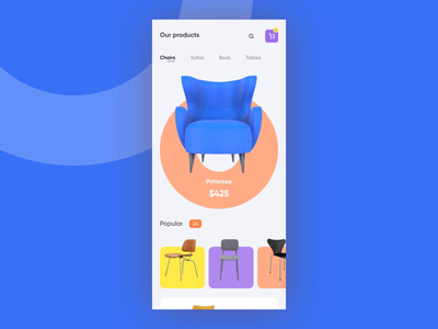 Furniture e commerce interaction app app ui colorful design concept ui after effect aep animation microinteraction interaction design 3d online shop shop furniture app chair