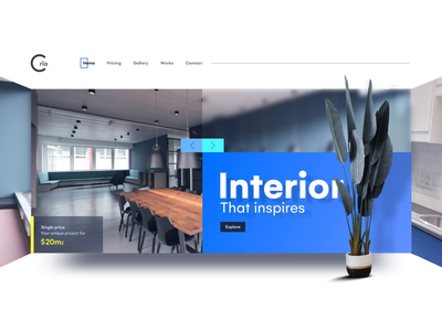 Interior Landing screen animation interactions web ui landingpage interior architecture