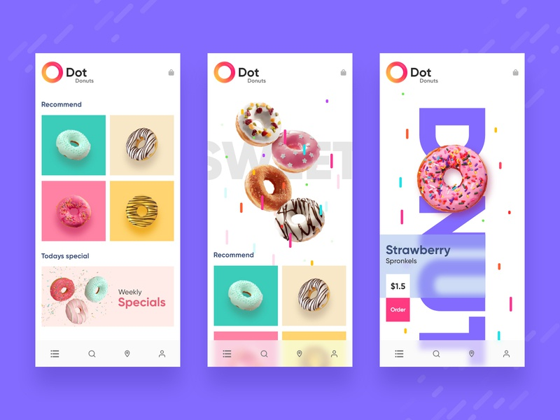 Donuts App Concept UI branding app ui design xd concept delivery app online shopping online store ui donuts