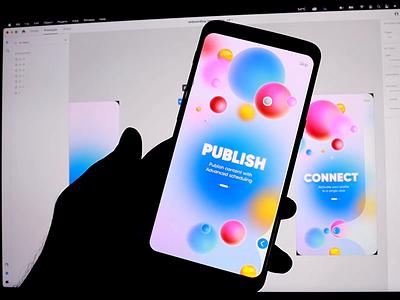 Adobe Xd Onboarding screen trendy shot colorful concept ui app uidesign muzli interaction design adobexd xd