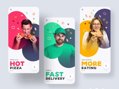 Onboarding concept delivery app fooddelivery yellow green red delivery ecommerce pizza xd app ui shot colorful inspiration trendy adobexd concept uiux ui onboarding